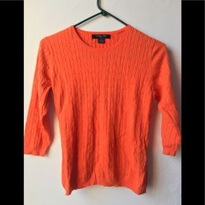August Silk Cable Knit 3/4 sleeve Orange sweater